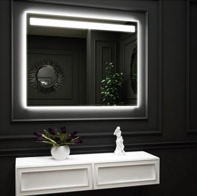 poza Oglinda cu iluminare LED interioara sus si iluminare LED pe perete O VIRRO seria EMMA