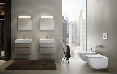 poza Set mobilier de baie cu lavoar si oglinda ROVESE seria METROPOLITAN