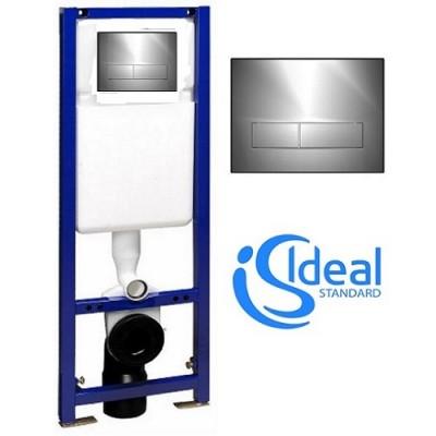poza Set rezervor incastrat vas wc suspendat cu clapeta crom IDEAL STANDARD W370567+W3708AA