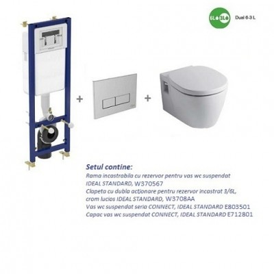 poza Set Rama incastrata cu Clapeta, Vas WC suspendat si Capac IDEAL STANDARD seria CONNECT