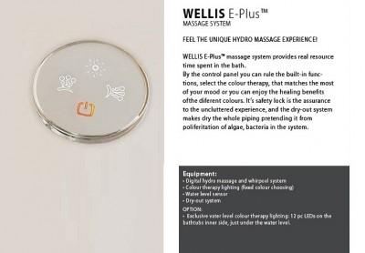 Set cada de baie dreptunghiulara cu hidromasaj WELLIS seria NERA MAXI E-PLUS cu baterie FLIPPER