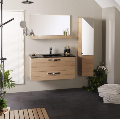 poza Set mobilier de baie cu lavoar si oglinda PARISOT seria OSLO 100 GLASS