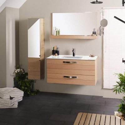 poza Set mobilier de baie cu lavoar si oglinda PARISOT seria OSLO 80 CERAMICA